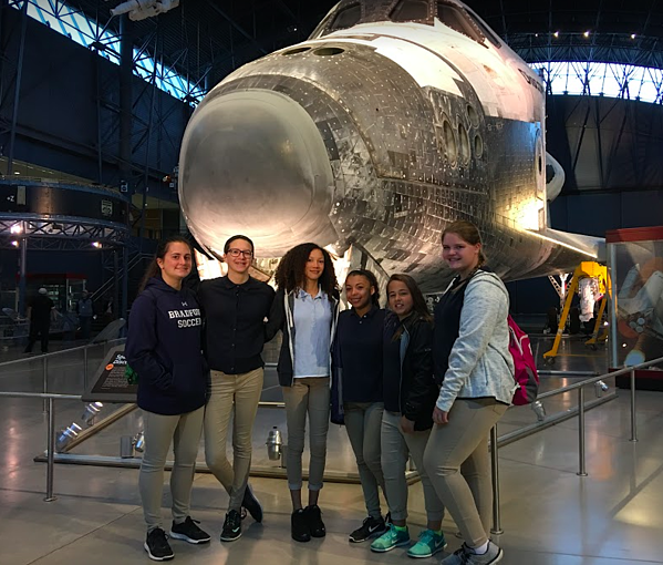 Students at the Udvar Hazy Museum in Washington, D.C.