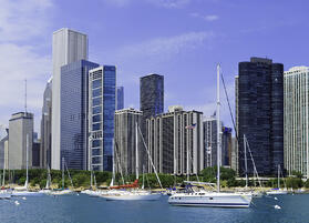 Boaters view of Chicago skyline in summer