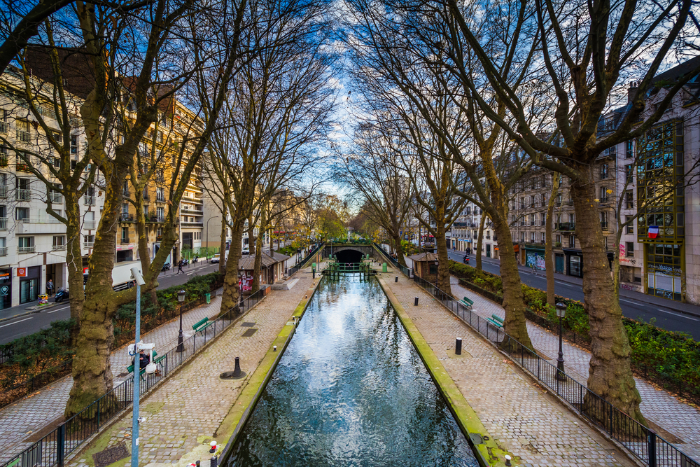 Small park along Canal Saint-Martin, in Paris, France.
