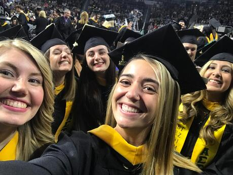 Students graduating from college