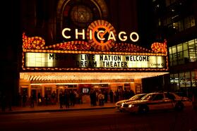 Chicago theater sign in Chicago, Illinois.