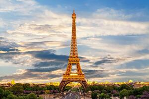 The Eiffel Tower on a sunny day.