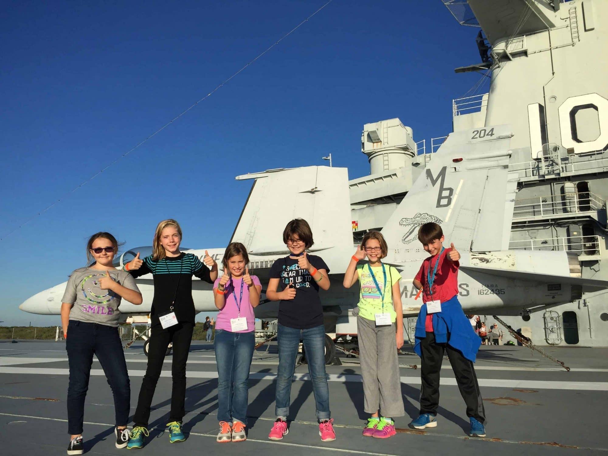students on the USS yorktown