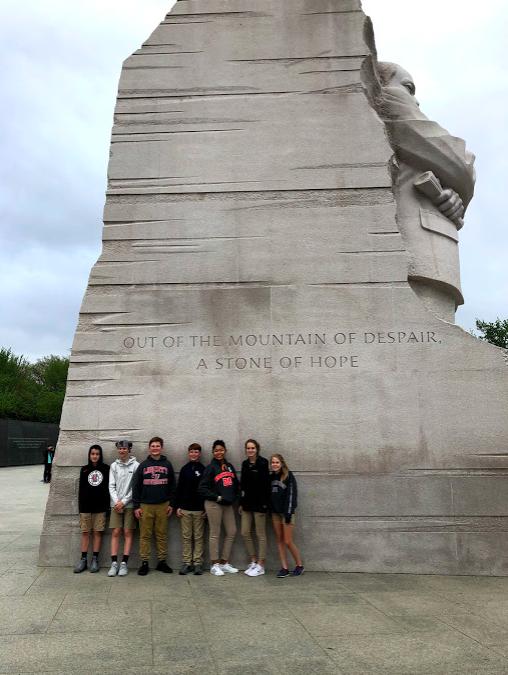 Students at MLK Statue in Washington, DC.