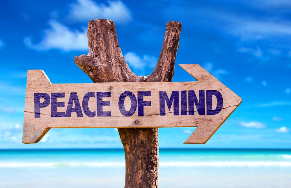 Peace of mind sign on a beach