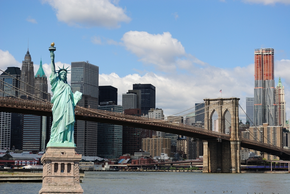 Lady Liberty and the New York skyline.