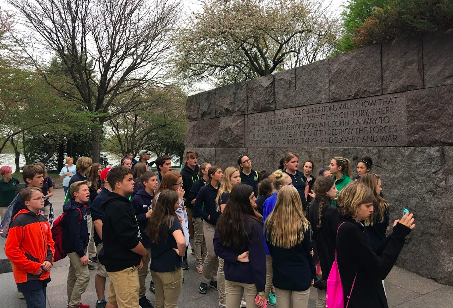 Students at the FDR Memorial in Washington, D.C.